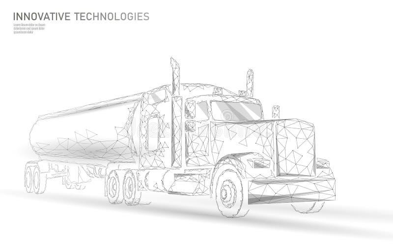 Le bas américain de camion poly Remorque logistique d'affaires de transport Véhicule lourd de la livraison de cargaison d'industr illustration de vecteur
