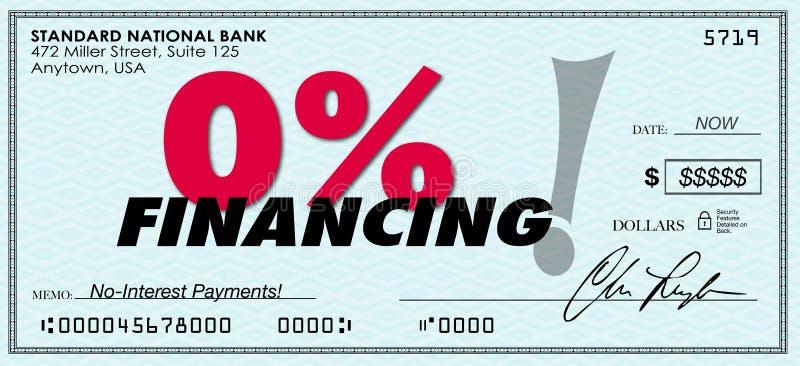 Le bas de financement de pour cent zéro de 0% aucun remboursement de prêt d'intérêt illustration de vecteur