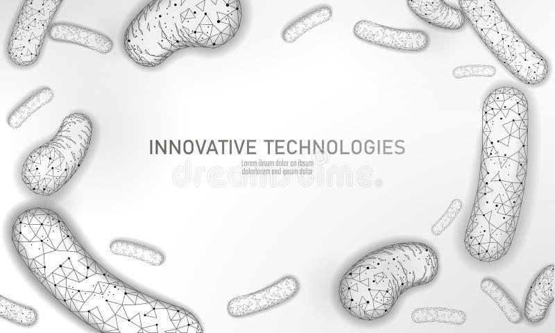 Le bas des bactéries 3D poly rendent le probiotics Flore normale saine de digestion de production humaine de yaourt d'intestin mo illustration stock