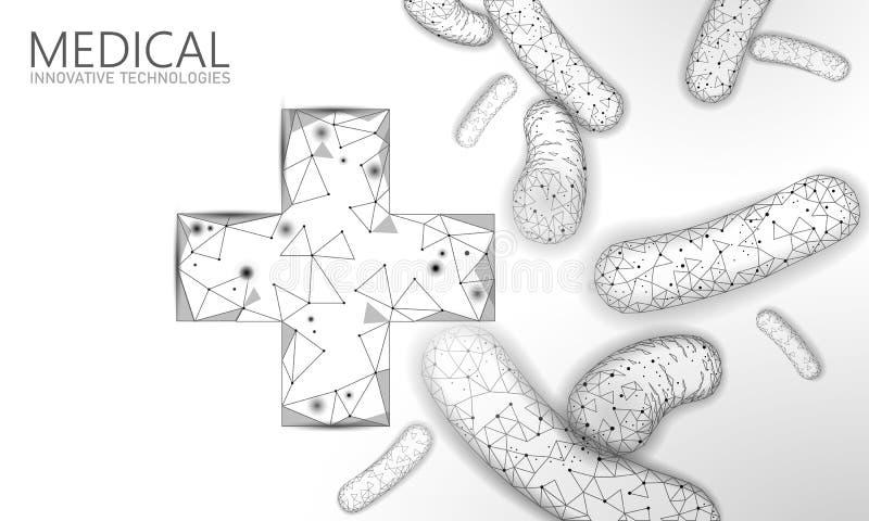 Le bas des bact?ries 3D poly rendent le probiotics Flore normale saine de digestion Technologie moderne de gastro-entérologue d'a illustration de vecteur