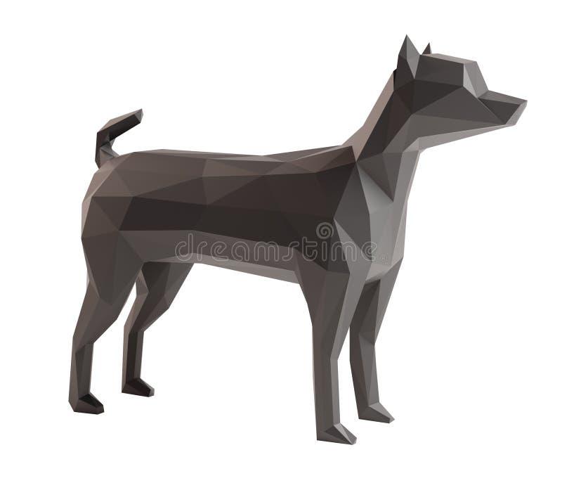 Le bas poly chien a isolé le fond blanc images libres de droits