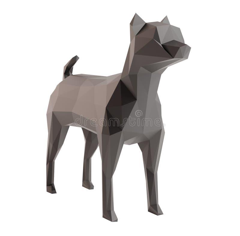 Le bas poly chien a isolé le fond blanc image stock