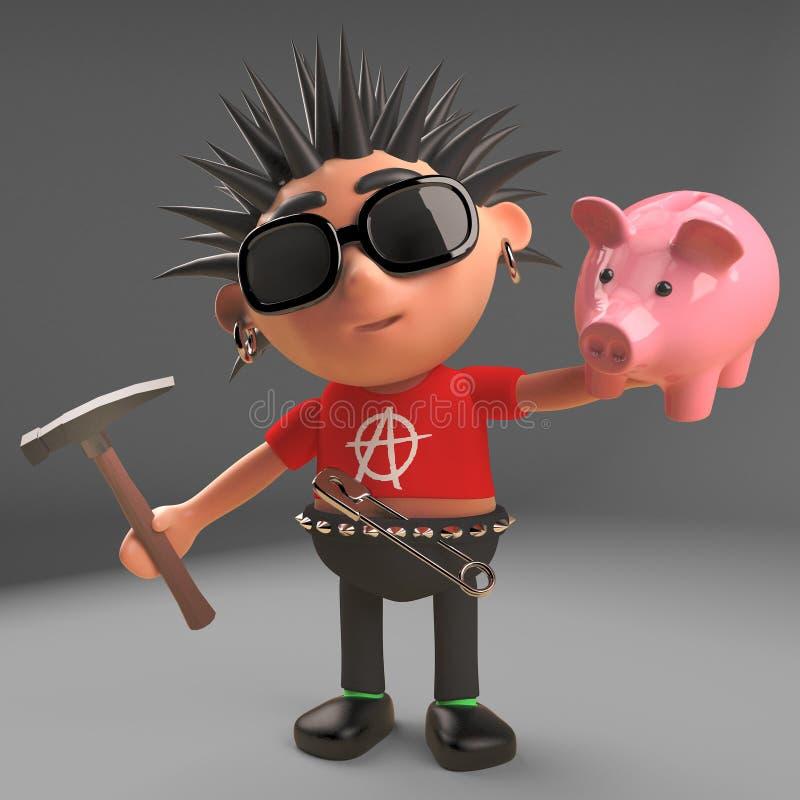 Le bas rocker punk payé doit heurter sa tirelire avec un marteau, l'illustration 3d illustration de vecteur