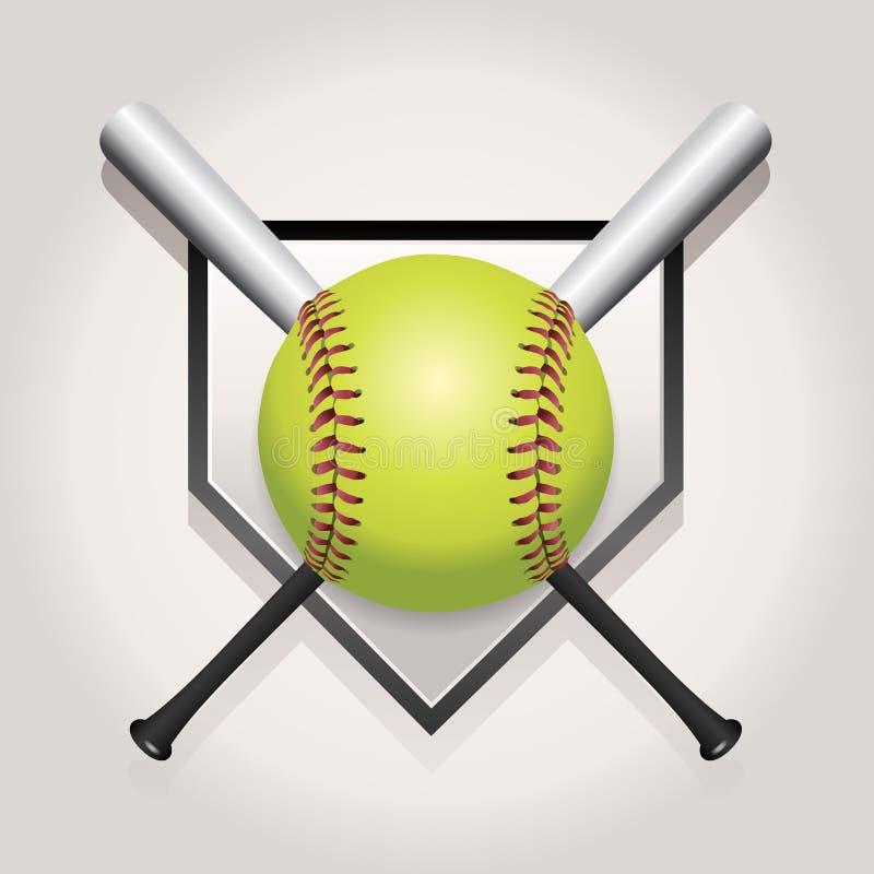 Le base-ball, batte, et illustration d'emblème de Homeplate illustration libre de droits