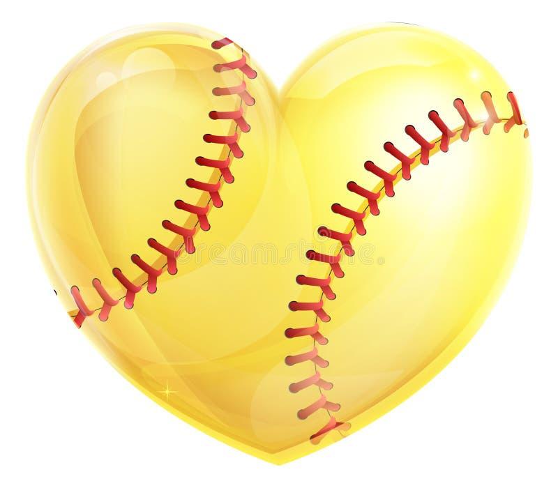 Le base-ball en forme de coeur illustration de vecteur