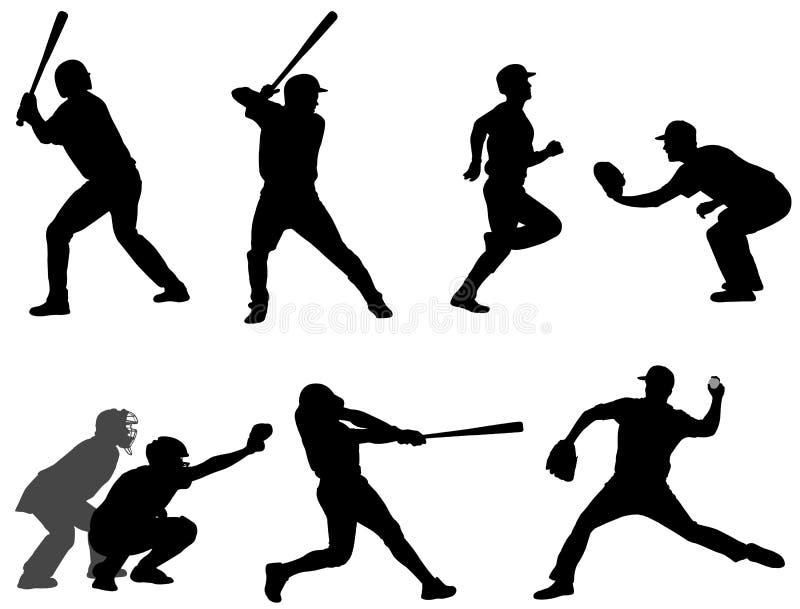 Le base-ball silhouette la collection 3 illustration libre de droits