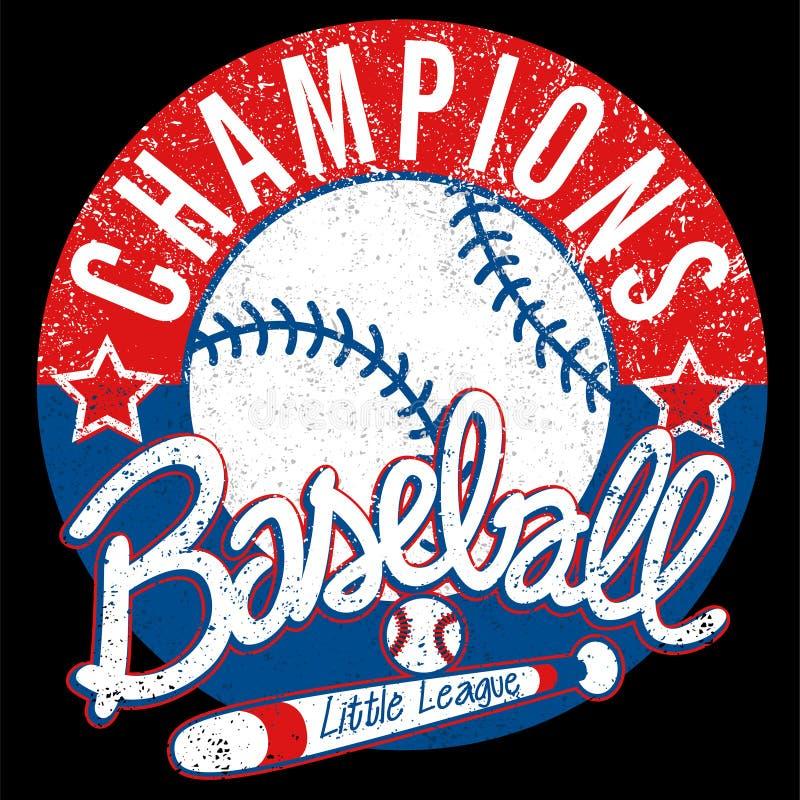 Le base-ball soutient l'emblème affligé par ligue illustration de vecteur