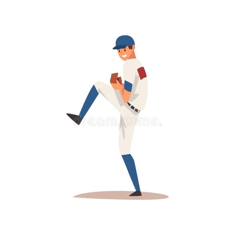 Le Basebollspelaren  Softballidrottsman Nen Character I Enhetlig Vektorillustration Vektor