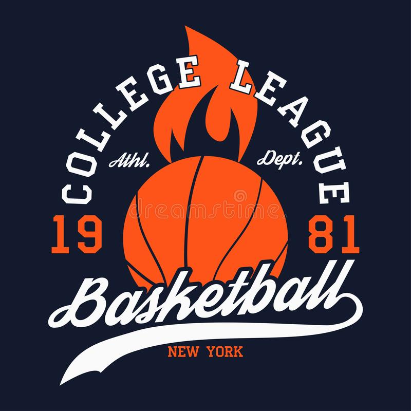 Le basket-ball folâtre l'habillement avec la boule ardente Ligue d'université de New York Emblème de typographie pour le T-shirt  illustration de vecteur