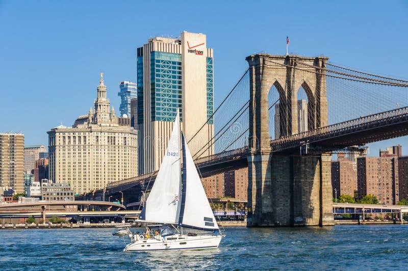 Le bateau à voile et le pont de Brooklyn du pont de Brooklyn se garent, NYC, USA image stock