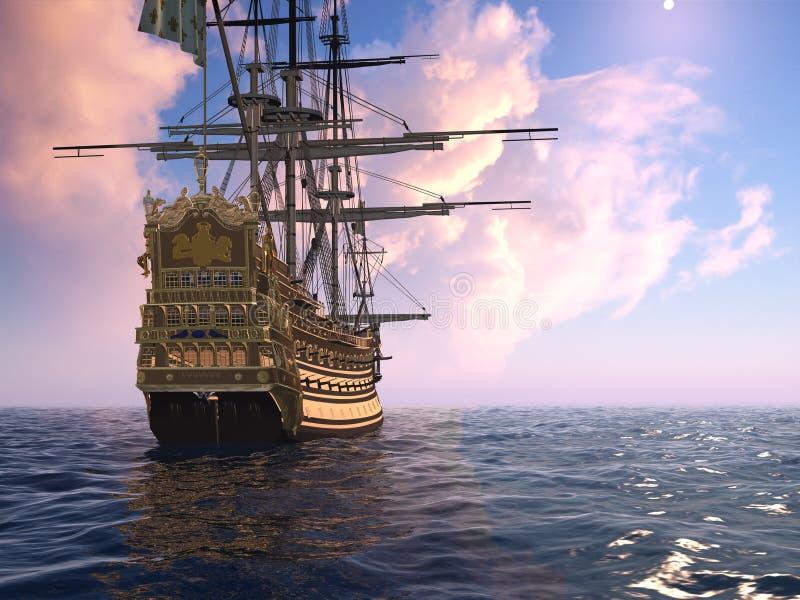 Le bateau antique illustration de vecteur