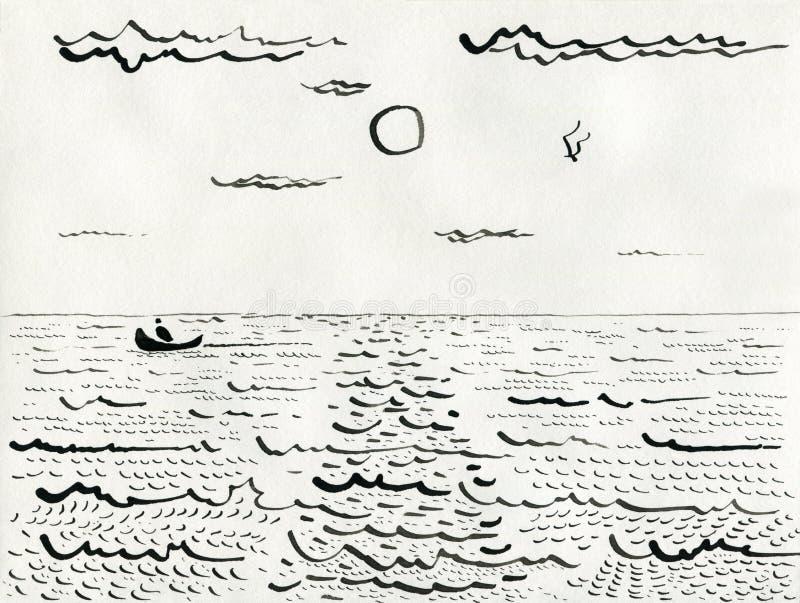 Le bateau avec le pêcheur navigue sur la mer sous le soleil et le nuage illustration de vecteur