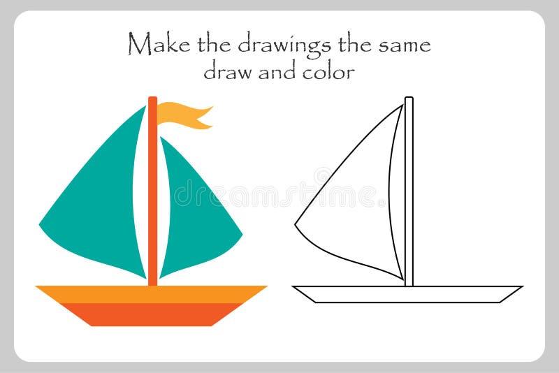 Le bateau dans le style de bande dessinée, font aux dessins la même chose, la page de coloration, jeu de papier d'éducation pour  illustration stock