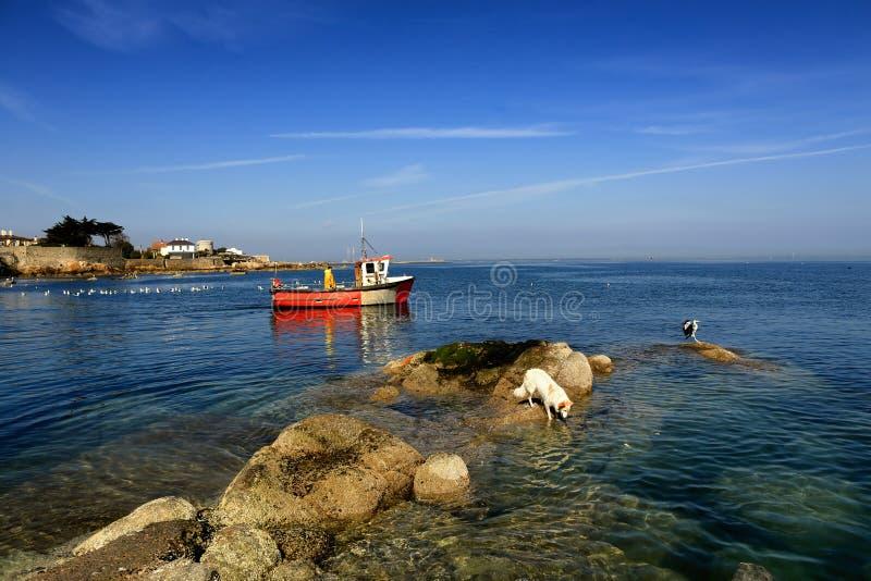 Le bateau de pêche passe des roches image libre de droits