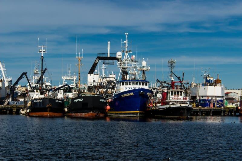 Le bateau de pêche professionnelle s'est accouplé sur le terminal du ` s de pêcheur à Seattle Washington photographie stock libre de droits