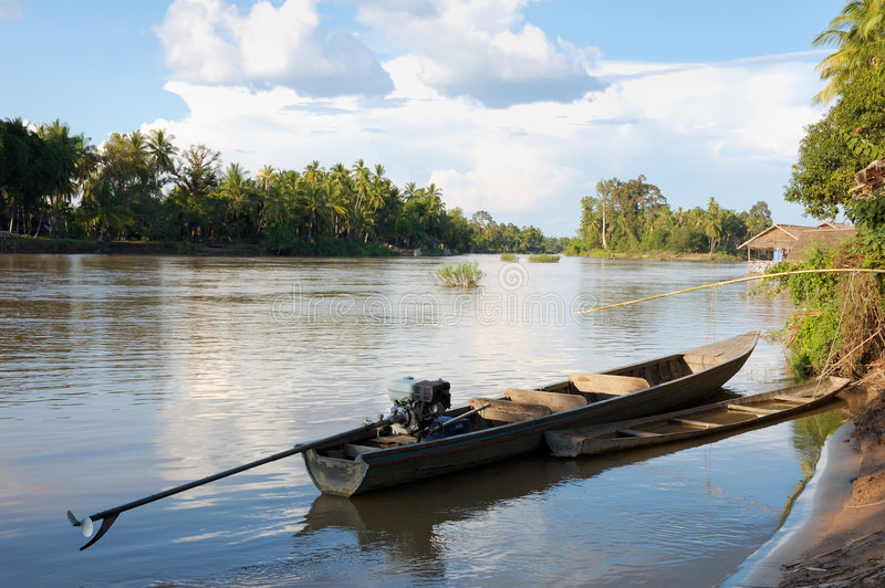 Le bateau, fleuve de Mekong images stock