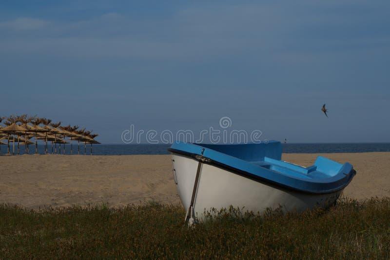 Le bateau sur la plage images libres de droits