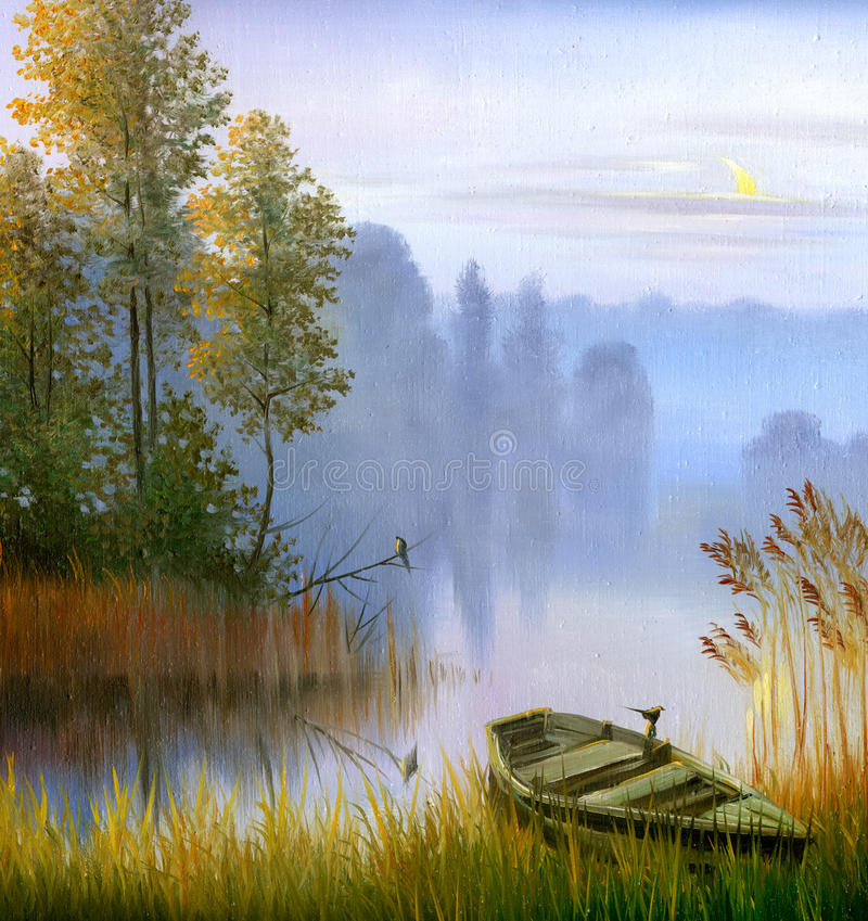 Le bateau sur le côté du lac illustration stock