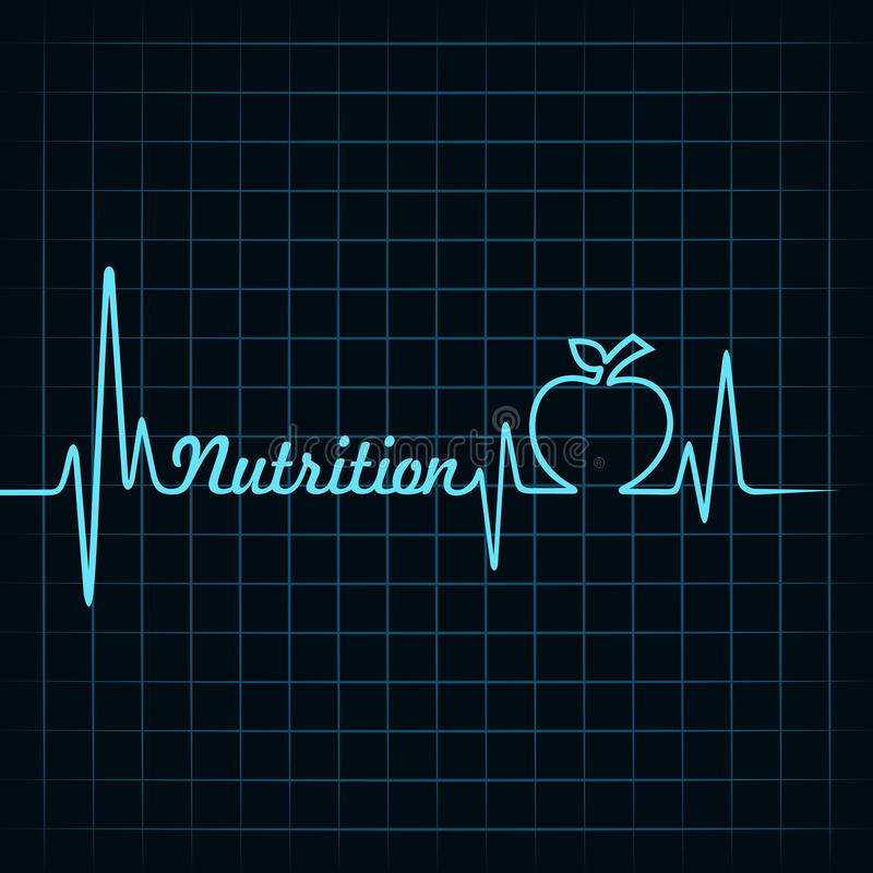 Le battement de coeur font le mot et la pomme de nutrition illustration libre de droits