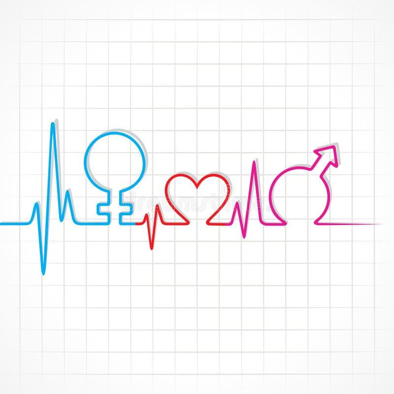 Le battement de coeur font le symbole de mâle, de femelle et de coeur à la prairie illustration libre de droits