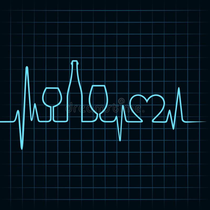 Le battement de coeur font les verres de vin, la bouteille et le symb de coeur illustration libre de droits