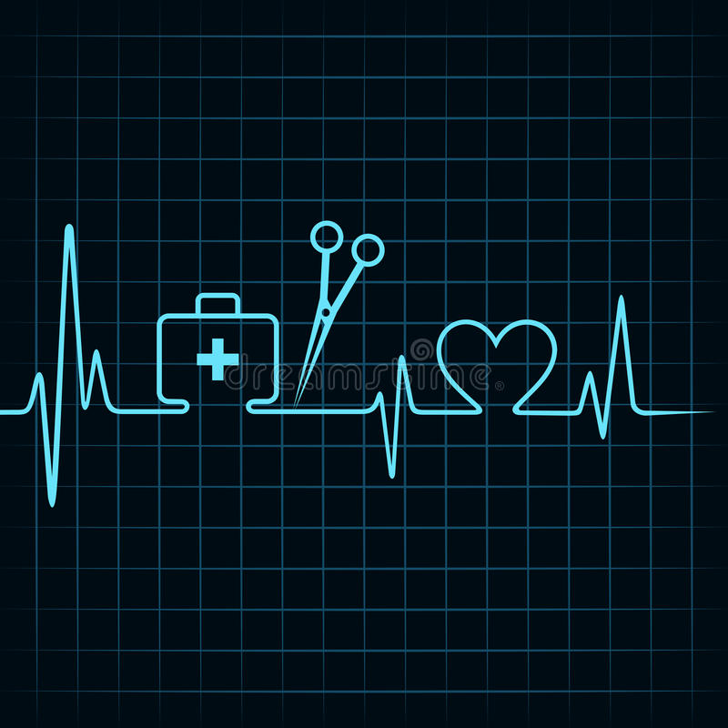 Le battement de coeur font une boîte de premiers secours, des ciseaux, et un vecteur d'actions de symbole de coeur illustration de vecteur
