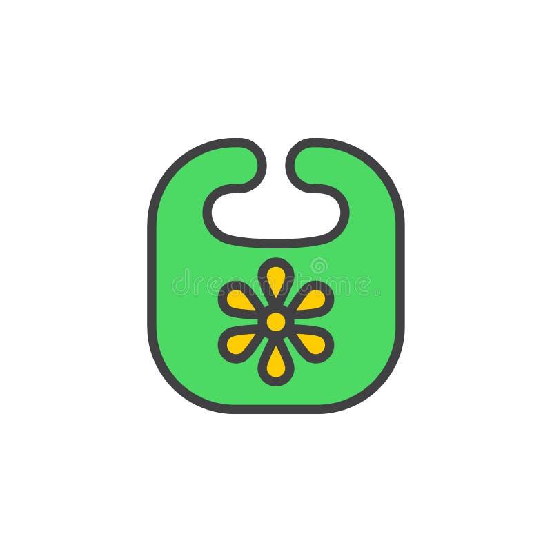 Le bavoir de bébé a rempli icône d'ensemble, ligne signe de vecteur, pictogramme coloré linéaire Symbole, illustration de logo illustration de vecteur
