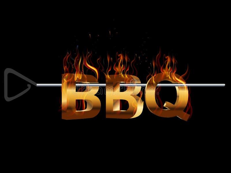 Le BBQ grillent tout entier l'invitation de partie, effet de tabagisme de flamme du feu illustration de vecteur