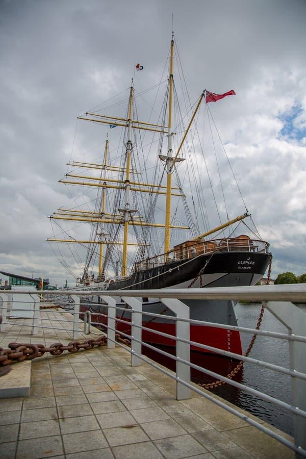 Le beau bateau de navigation Glenlee au musée de rive à Glasgow, Ecosse images stock