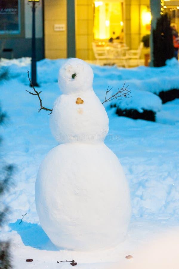 Le beau bonhomme de neige suisse neigeux image stock
