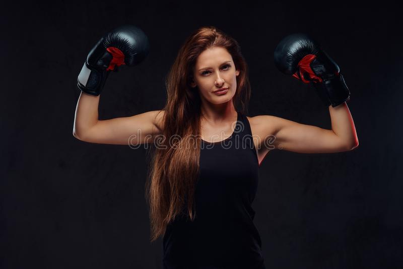Le beau boxeur féminin folâtre dans les gants de boxe de port de vêtements de sport, expositions muscles D'isolement sur un textu photographie stock