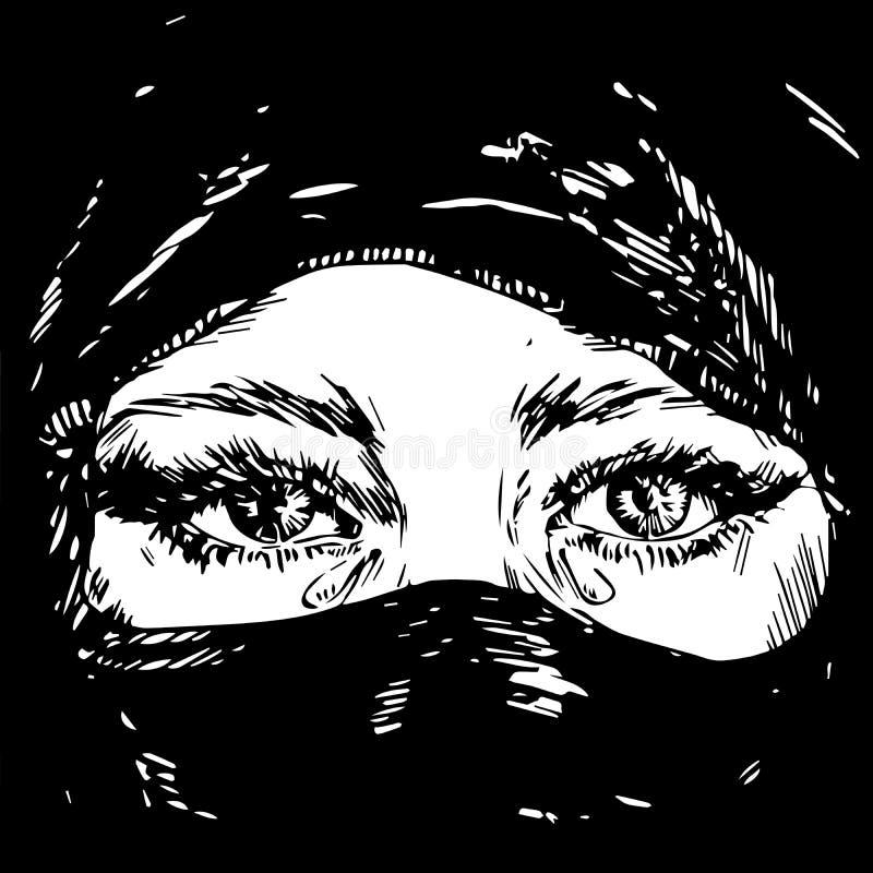 Le beau brun a observé la fille musulmane pleurant, visage caché dans un hijab noir de foulard illustration stock
