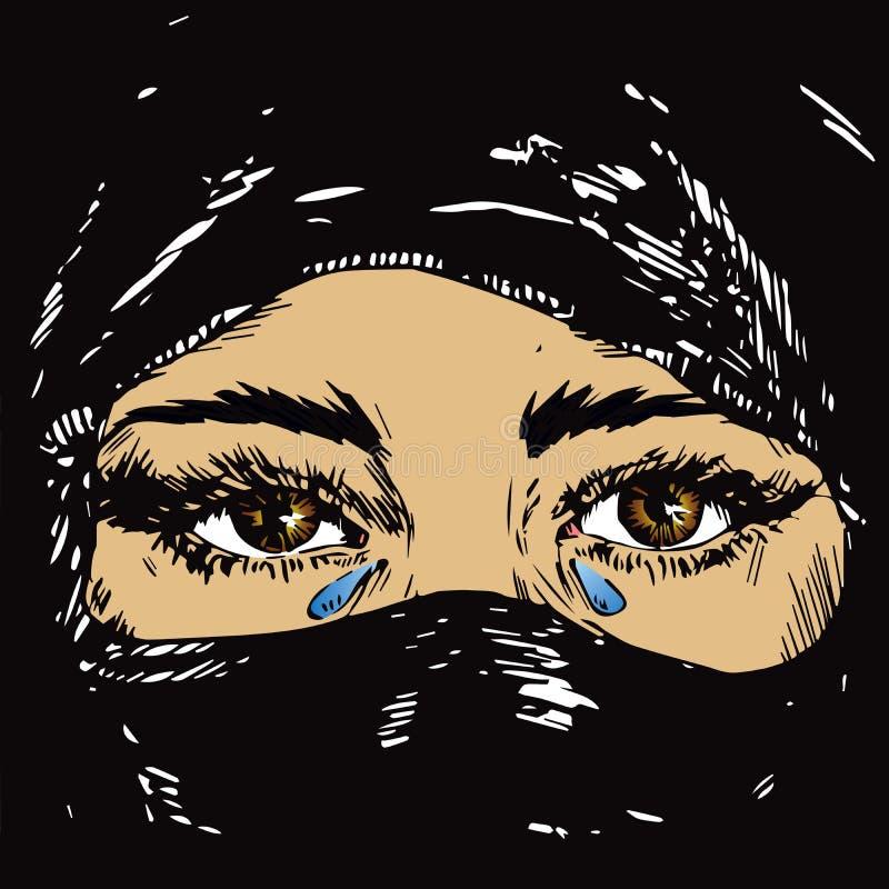 Le beau brun triste a observé la fille musulmane pleurant, visage caché dans un hijab noir de foulard illustration stock