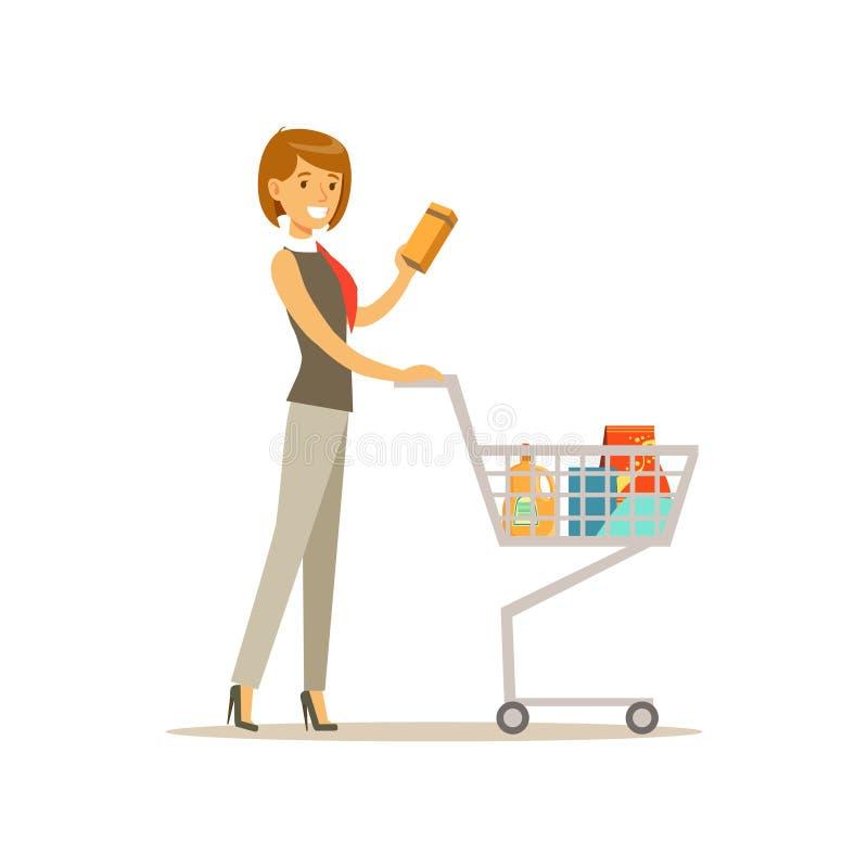 Le beau caractère de jeune femme poussant le caddie de supermarché avec des épiceries dirigent l'illustration illustration de vecteur
