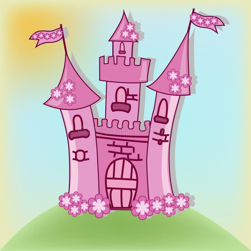 Le beau château rose illustration de vecteur