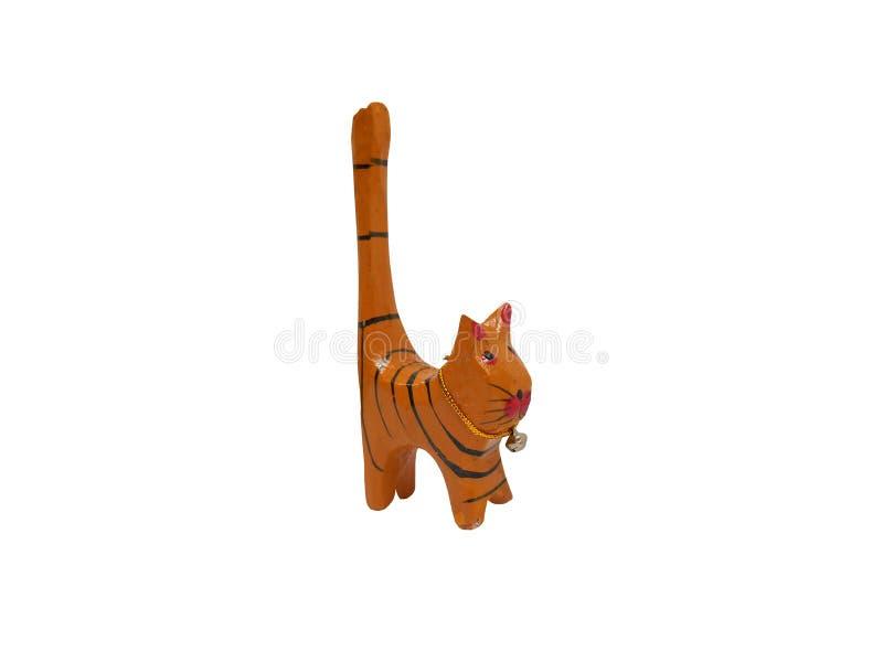 Le beau chat en bois a découpé à la main images stock
