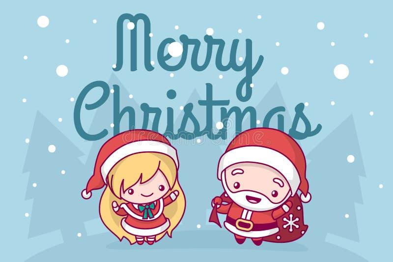 Le beau chibi mignon le père noël de kawaii avec un sac des cadeaux et une jeune fille de neige sont sous des chutes de neige Joy illustration libre de droits