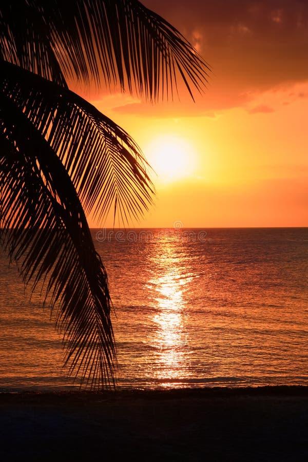 Le beau coucher du soleil sur la plage, le soleil descend à la mer Calme ambiant, concept de repos et détente Vue de stupéfaction image stock