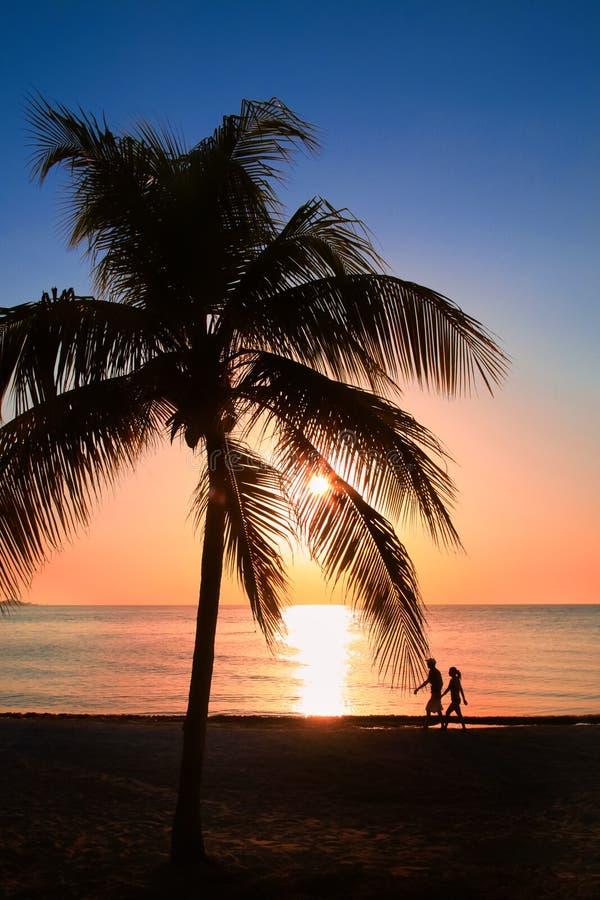 Le beau coucher du soleil sur la plage, le soleil descend à la mer, à deux silhouettes homme et à femme sous la paume Calme ambia photo libre de droits