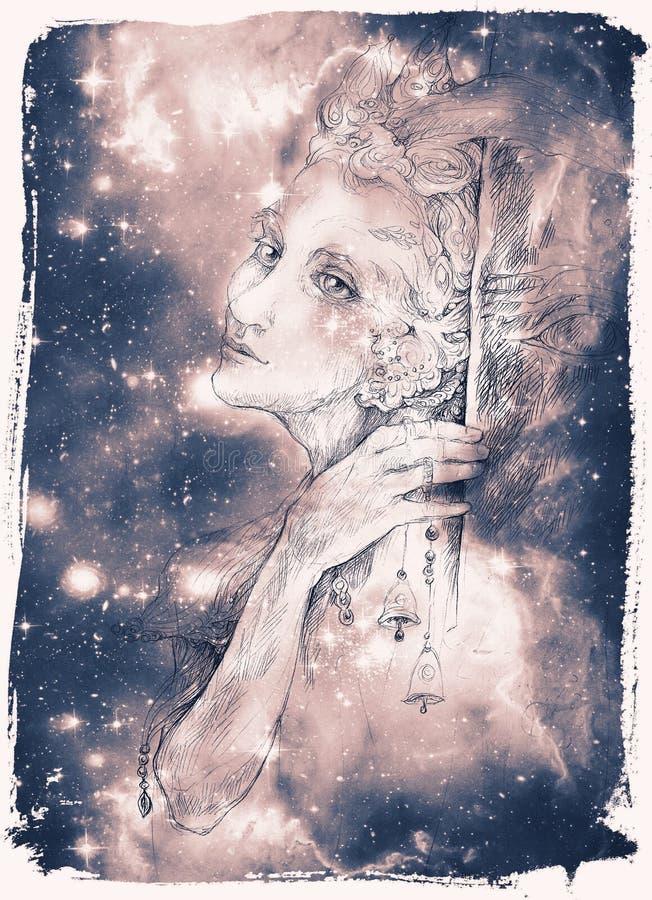 Le beau dessin de elven la créature féerique avec des cloches d'étameur ambulant illustration de vecteur