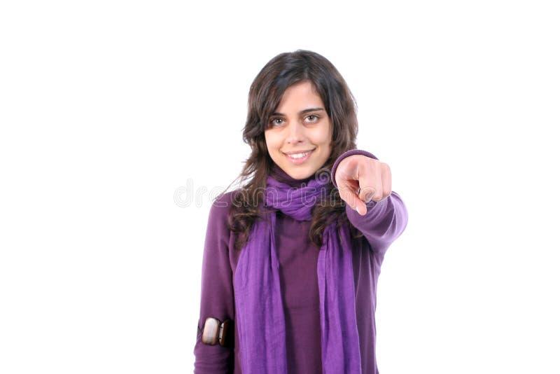 le beau doigt fait des gestes des jeunes de fille image stock