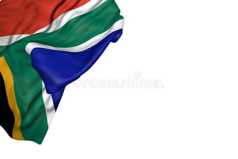 Le beau drapeau de l'Afrique du Sud avec de grands plis se situent dans en haut à gauche le coin d'isolement sur blanc - n'import illustration de vecteur