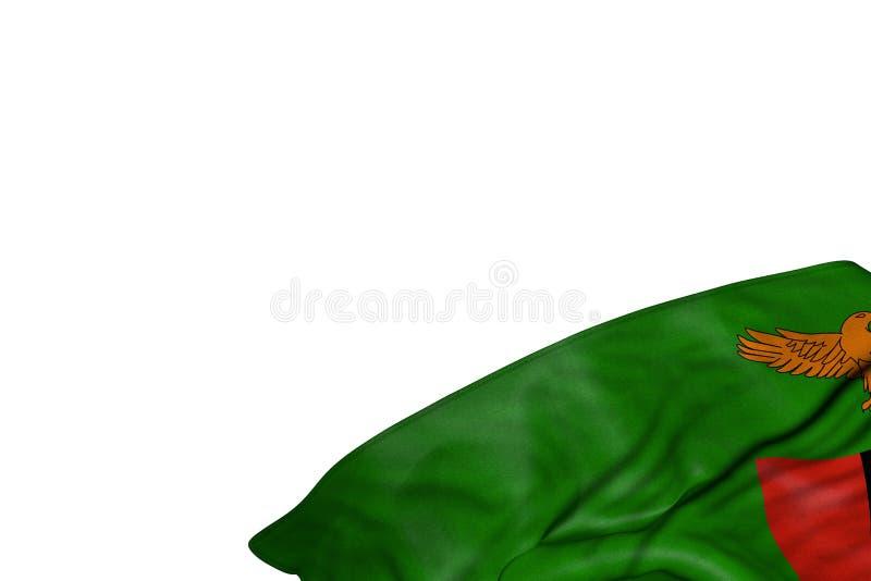 Le beau drapeau de la Zambie avec de grands plis se situent dans le coin inférieur droit d'isolement sur blanc - n'importe quelle illustration libre de droits