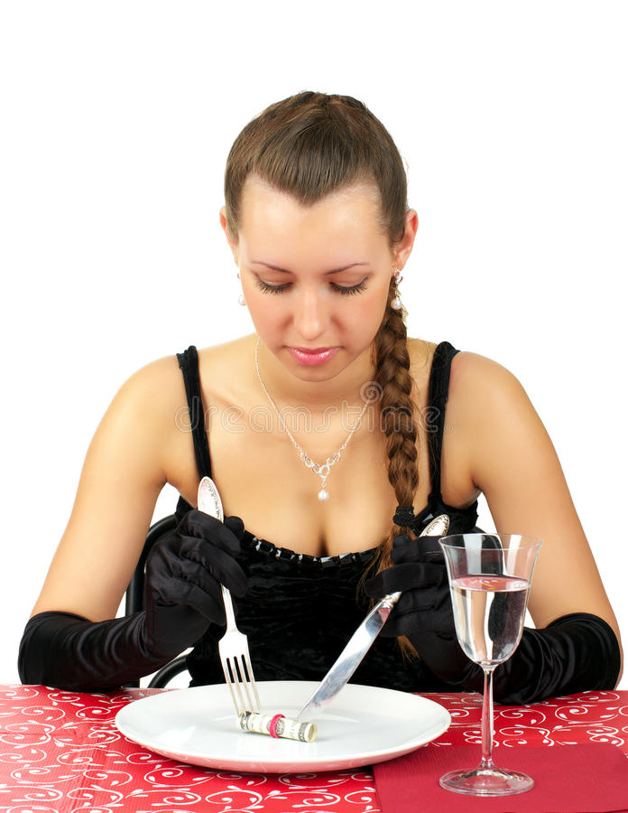Le beau femme dînent images libres de droits