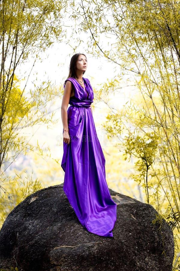 Le beau femme a rectifié la robe de lavande photographie stock