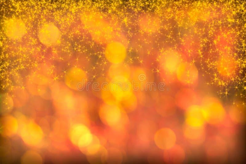 Le beau fond d'or rouge Starlight scintille des étincelles photos stock