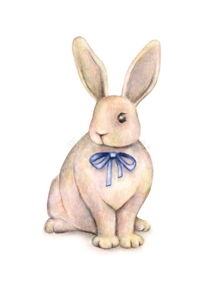 Le beau lapin d'aquarelle avec un arc bleu est sur un fond blanc Le dessin fantastique des enfants Travail manuel illustration libre de droits