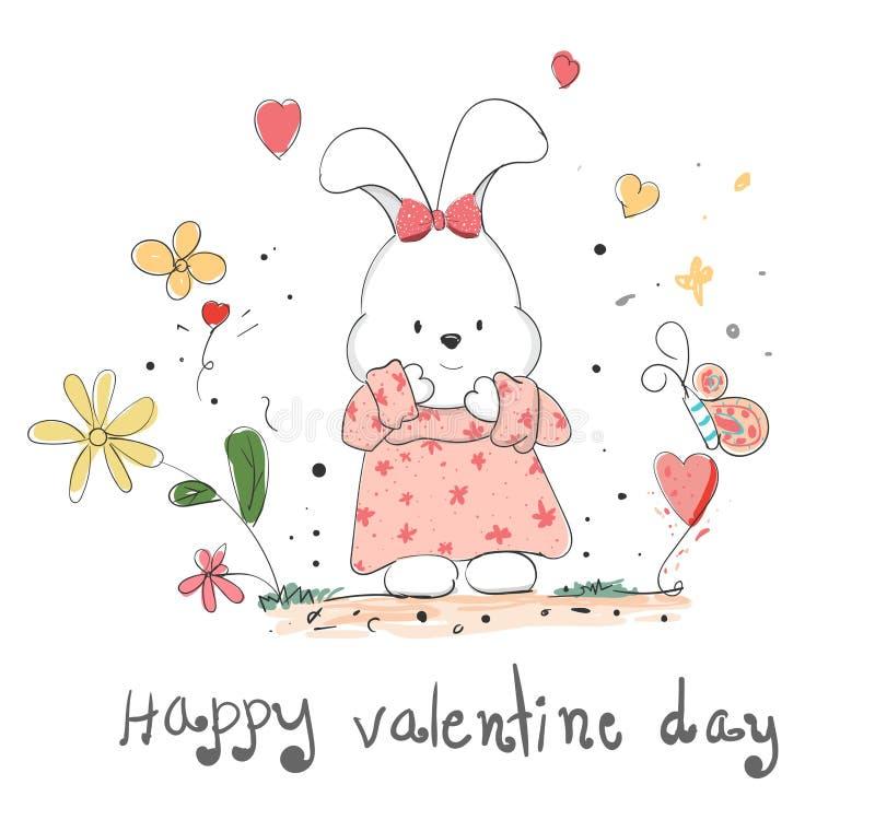 Le beau lapin de bande dessinée avec le coeur, amour, les mains tirées créatives a fait la carte, Saint Valentin heureux, élément illustration stock