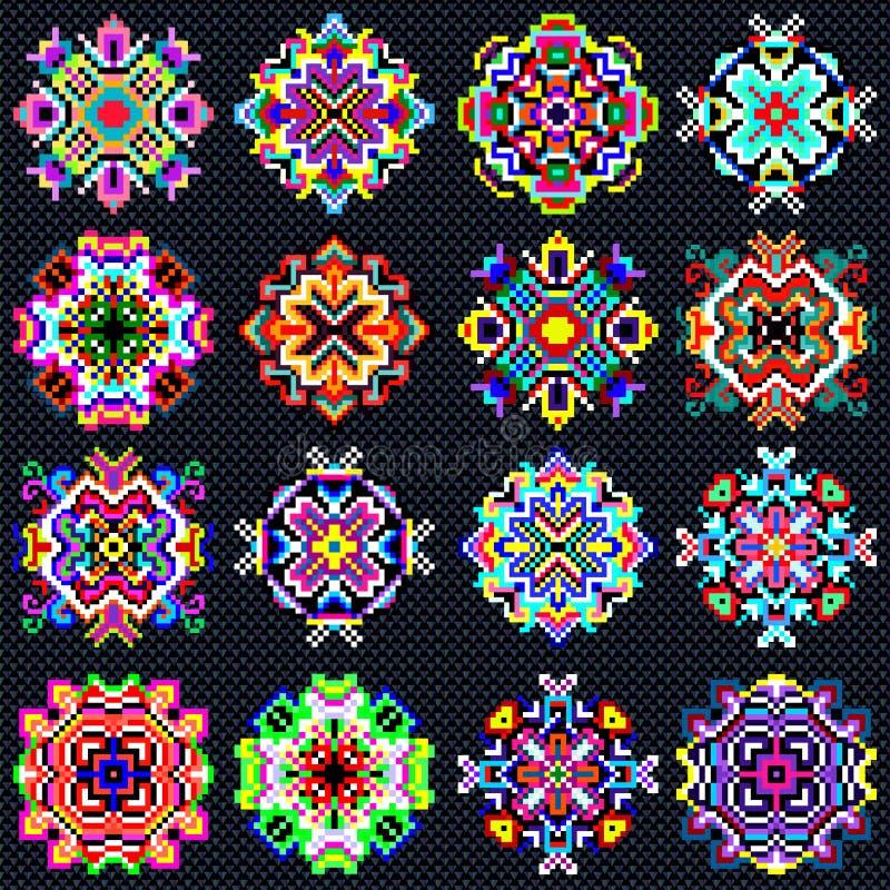 Le beau mandala de couleur de la collection de pixels de vintage objecte illustration stock