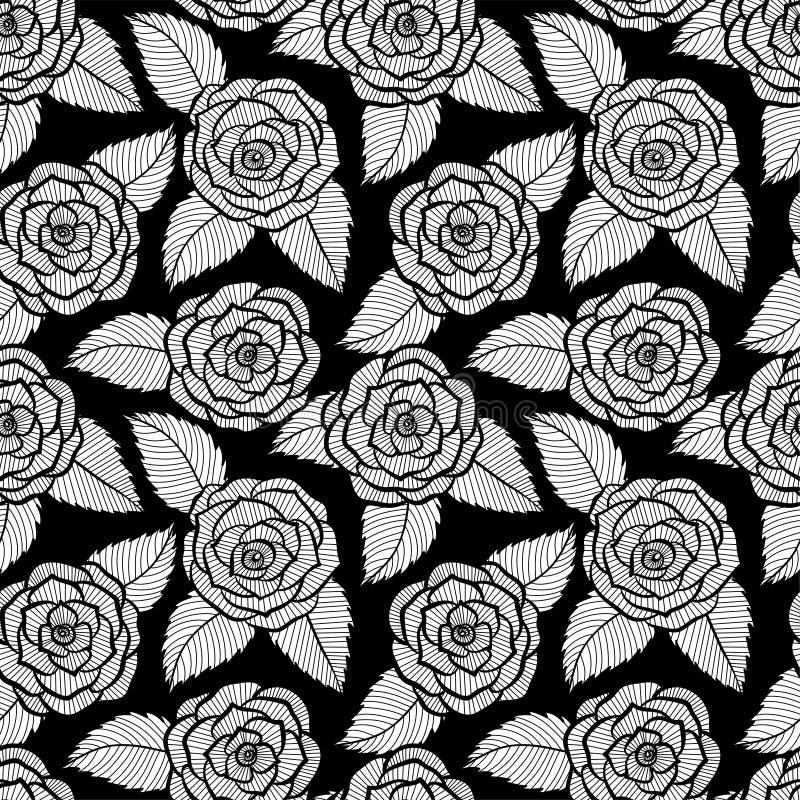 Le beau modèle noir et blanc sans couture dans les roses et les feuilles lacent Courbes de niveau et courses tirées par la main illustration de vecteur